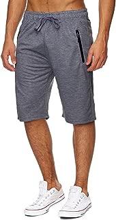 Voncheer Mens Elastic Waist Drawstring Summer Workout Shorts with Zipper Pockets