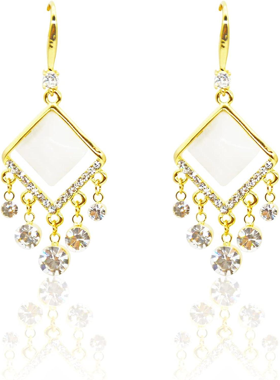 14K Gold Drop Dangle Earrings Cute Handmade Earring with Diamond Pendant for women and Girls