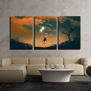 wall26 - 3 Piece Canvas Wall Art - Man Flying with Balloon Lights at Sunset,Illustration Painting - Modern Home Decor Stretched and Framed Ready to Hang - 24