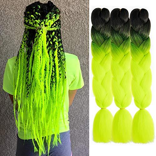 AQINBEL Braiding Hair for Women 24 Inch 3PCS/Lot Ombre Jumbo Braiding Hair Extension Kanekalon High Temperature Jumbo Braids for Twist Crochet Braiding Hair(Black to Yellow Green)