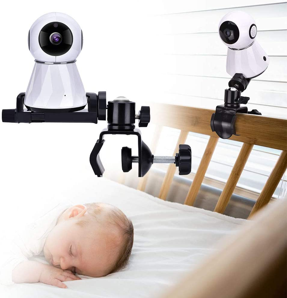 Baby Camera Monitor Mount Bracket, 360 Degrees Rotatable Adjustable Holder Flexible Camera Stand for Crib Nursery