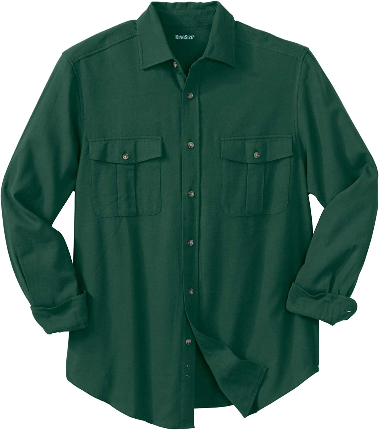 KingSize Mens Big /& Tall Solid Double-Brushed Flannel Shirt