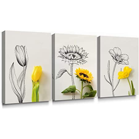 Sunflower Art Print Picture Flowers Picture Floral Grey Picture Wall Art