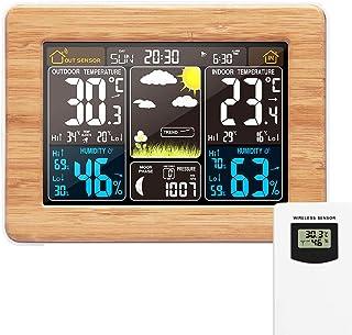 DeeCozy Station digital färgglad prognos sensor inomhus utomhustermometer med tid datum temperatur fuktighet barometer lar...