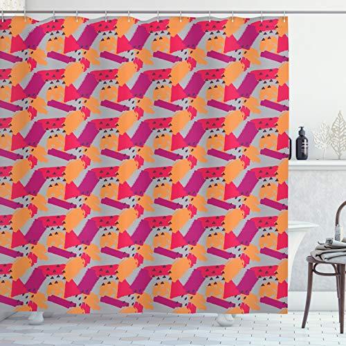 ABAKUHAUS Verf Douchegordijn, Random Brush Hits Stroken, stoffen badkamerdecoratieset met haakjes, 175 x 180 cm, Apricot Magenta