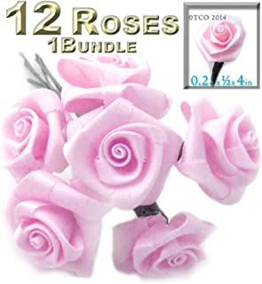 The Crafts Outlet One Bundle 12 Handmade Folded Ribbon Roses, 0.25-inch Wide Rose 4-inch Long Wire stem, Pink