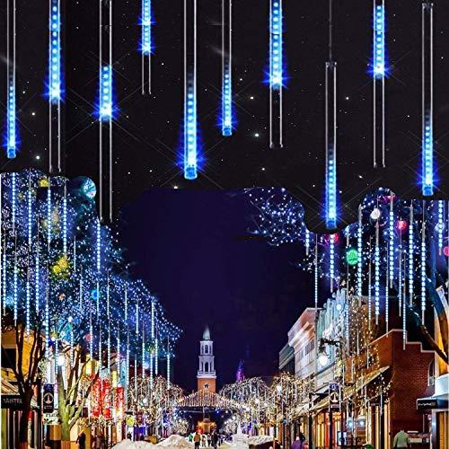 Lumineux Tubes Solaire,SUAVER Imperméable solaire Lights 10 Tubes 30CM LED Météore Pluie Lumineuses Guirlandes Solaire,Lumineux Solaire Lampes de Corde pour Noël Mariage Fête Arbre(Bleu)