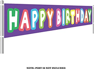 Large Happy Birthday Banner, Colorful Birthday Banner, Birthday Party Supplies Decorations, Rainbow Birthday Photo Prop Backdrop (9.8 x 1.5 feet)