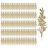 100 Pieces Artificial Flowers for Floating Candles Centerpiece Gold Flower Filler Mini Vase Fillers Filling Floating Candles Filling Flower for Party Home Table Wedding Decoration Vase Fillers(Gold)