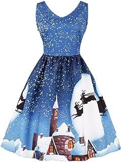 Toimoth Plus Size Womens Christmas Santa Vintag Party Dress Xmas Swing Skater Dress(Blue,L)