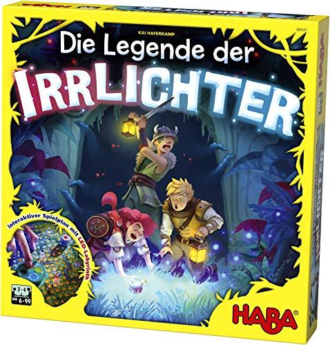 HABA 304121 - Die Legende der Irrlichter, kooperatives Memo- und Sammelspiel mit leuchtendem LED-Labyrinth für 2-4 Spieler von 6-99 Jahren