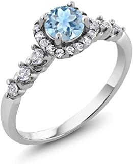 Gem Stone King 925 Sterling Silver Aquamarine and White Created Sapphire Ladies Women's Engagement Ring (0.87 Cttw, Available 5,6,7,8,9)