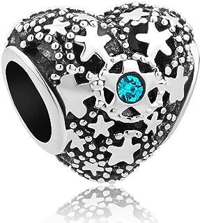 Uniqueen Breloque en forme d/étoile en cristal pour bracelet europ/éen