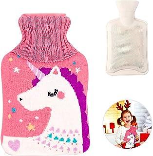 WELLXUNK® Värmflaska med överdrag, värmeflaska, varmvattenflaska barn, avtagbar och tvättbar varmvattenflaska med tvättbar...
