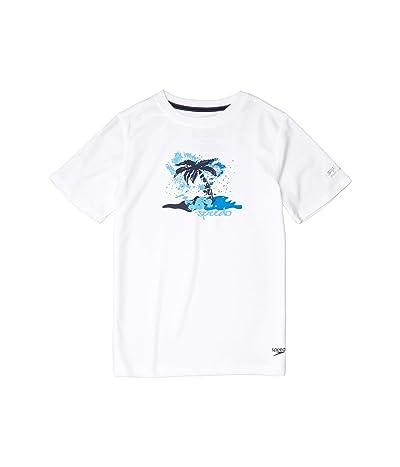Speedo Kids Short Sleeve Graphic Swim Shirt (Little Kids/Big Kids) (White) Boy