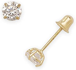 14k Yellow Gold Solitaire Round Cubic Zirconia CZ Stud Screw-back Earrings (2mm-7mm)