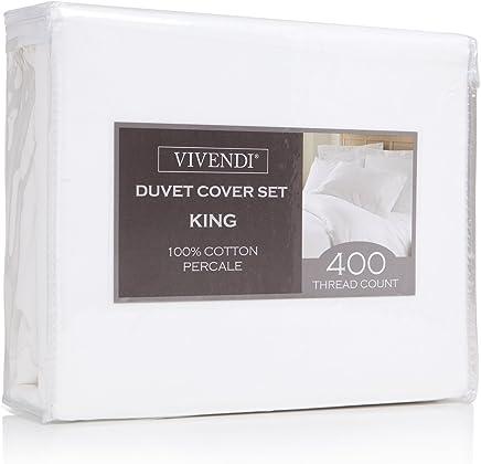 Vivendi 400 Thread Count Cotton Percale 3-Piece Duvet Cover Set,  Full/Queen,  White
