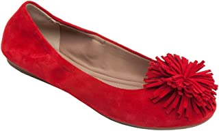 Kiana - Women's Tassel Elastic Ballet Flat - Embellished Suede Leather Pompom Comfortable Slip-On