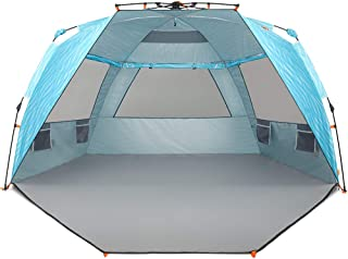 Easthills Outdoors Instant Shader Enhanced Deluxe XL (Prints) Easy Up 4 Person Beach Tent Sun Shelter UPF 50+ Double Silve...