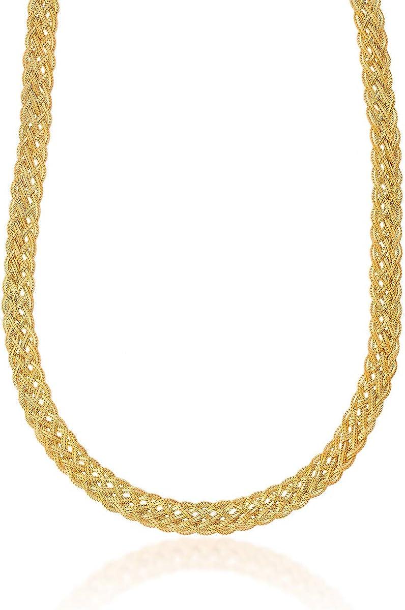 Barzel 18K Gold Plated Braided Herringbone Chain Necklace 9MM Wide Twisted Herringbone Necklace