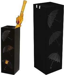 BAKAJI Porte-parapluies en fer design bac anti-gouttes et crochets pour parapluies pliants, dimensions 49 x 15,5 cm