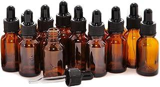 Lot de 12 flacons vides rechargeables en verre ambré 5 ml avec compte-gouttes pour huiles essentielles, aromathérapie, cos...