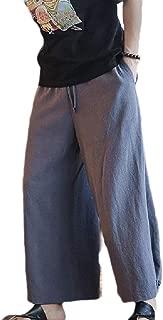 MogogoMen Linen Oversized Loose Solid Color Straight Leg Training Running Trousers