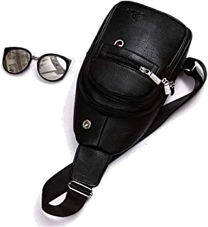 Mens Bag Men's Casual Leather Chest Bag Business Briefcase Handbag Shoulder Bag Travel Sports,2 Color High capacity