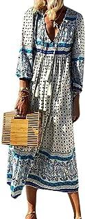 FSSE Womens Bohemian Print Long Sleeve Beach Dresses V-Neck Summer Long Dress