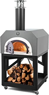 Chicago Brick Oven Wood-Burning Mobile Outdoor Pizza Oven, CBO-750 Mobile with Silver Vein Hood