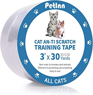 PetInn Anti-Scratch Cat Training Tape, 100% Transparent Clear Cat Scratch Deterrent Tape, Furniture Protector for Couch, Carpet, Doors, 3 Inches x 30 Yards