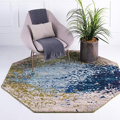 Unique Loom Estrella Collection Teppich, abstrakt, Blau, achteckig, 180 x 180 cm