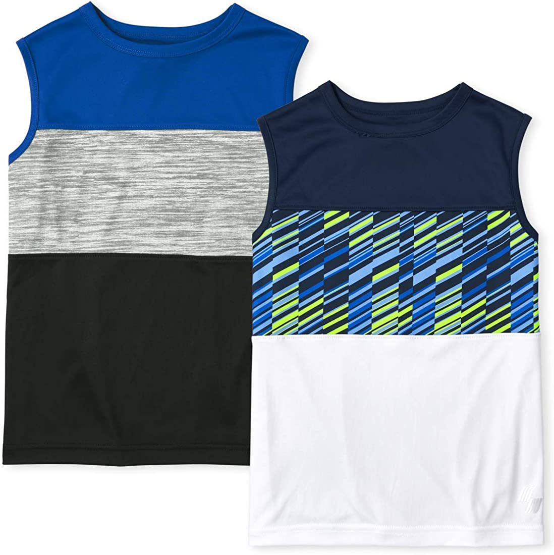 The Children's Place Boys Colorblock Performance Muscle Tank Top 2-Pack