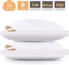 Agedate Adjustable Down Alternative Bed Pillows for Sleeping, Hypoallergenic Microfiber Fill Pillow, Soft and Breathable, Machine Washable, Relief for Neck and Headache Pain, Queen Size (2 Pack)