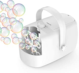 iTeknic Bubble Machine, Automatic Bubble Blower, Portable Auto Bubble Maker with High Output for Outdoor/Indoor Use,Powered by Plug-in or Batteries , Bubble Toys and Gifts for Kids Girls Boys (White)