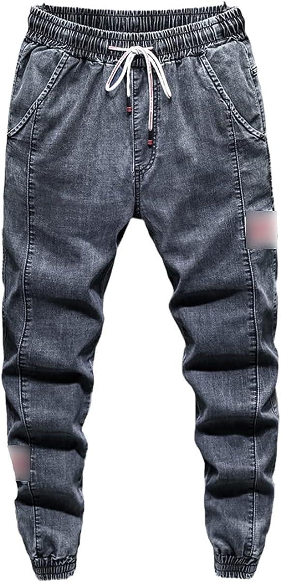 CACLSL Men's Jeans Fashion Casual Jogging Harem Jeans 3-Color Hip-hop Stitching Slim-fit Men's Trousers