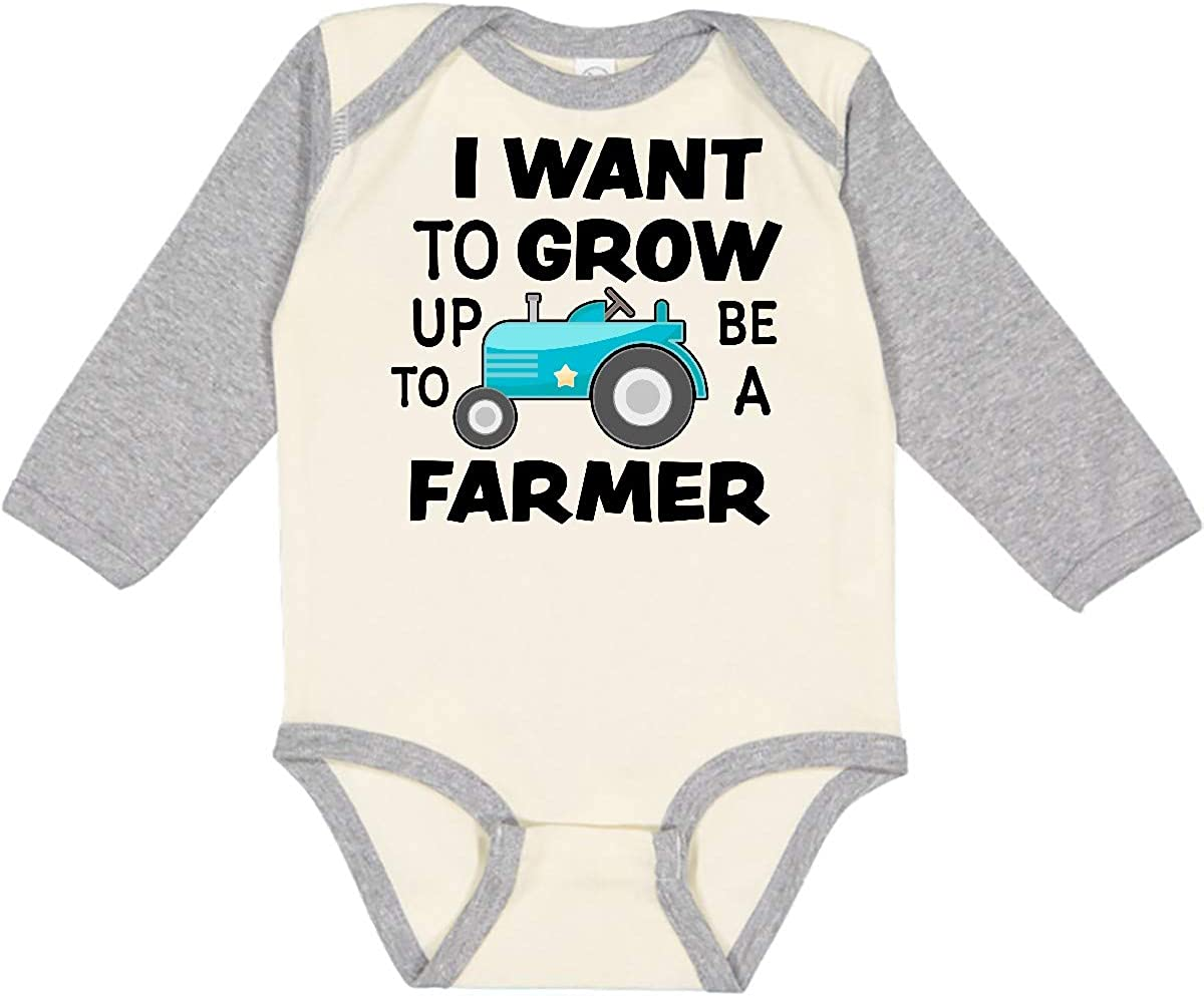 inktastic I Want to Super beauty product restock quality Large-scale sale top Grow Up Farmer Creeper Long Sleeve a Be