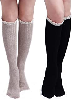 Womens Cotton Knit Boot Socks, Knee High Tube Socks Stockings with Lace Trim for women, 2 Pairs