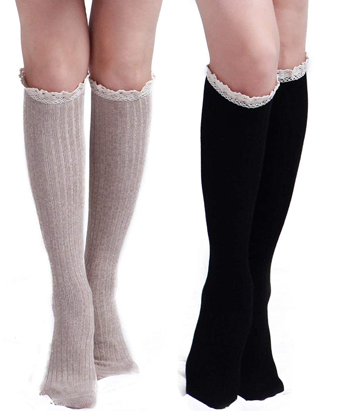 THXXE Womens Cotton Knit Boot Socks, Knee High Tube Socks Stockings with Lace Trim for women, 2 Pairs