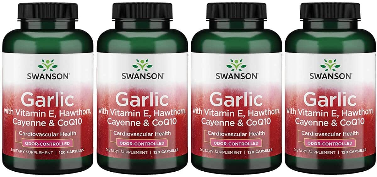 Swanson Garlic with Vitamin 5 ☆ NEW before selling ☆ popular E Capsu 120 Berry Cayenne Hawthorn