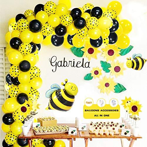 AYUQI Gelb Schwarz Ballon Girlande Arch Kit, 105 Gelb Schwarz Luftballons Gelb Punkt Luftballons Bienenfolie Luftballons für Party Hochzeit Geburtstag Baby Dusche Kreative Party Dekorationen Mädchen