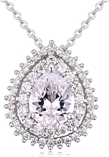 Dame GS White Gold Plated Teardrop Shaped Ruby Red Crystal with Cubic Zirconia Pendant Necklace Fashion Jewelry
