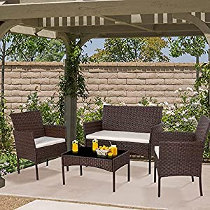 Shintenchi 4 Piece Outdoor Patio Furniture Sets, Small Wicker Patio Conversation Furniture Rattan Chair Set with Tempered Glass Coffee Table For Backyard Porch Garden Poolside Balcony, Brown