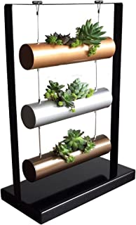 SOMMERLAND Vertical Garden Planting Cylinder Display System for Succulent Cactus and Small Plants, Metal Base