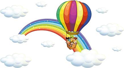 zwyluck Montgolfi/ère avions stickers muraux bricolage carton d/écor /à la maison d/écalque murale pour enfants b/éb/é d/écor de p/épini/ère 105 90 cm