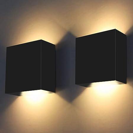 2Pcs Applique Murale Intérieur, 10W ShuBel Applique LED D'intérieur, Applique Murale Décorative 3000K Blanc Chaud Moderne pour Chambre Coucher, Salon, Hôtel, Escalier, Allée (Noir)