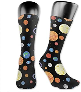 Luxury Calcetines de Deporte Planets Of The Solar System Pattern Socks For Men Or Women, All-Season Lightweight Mid Calf Crew Socks