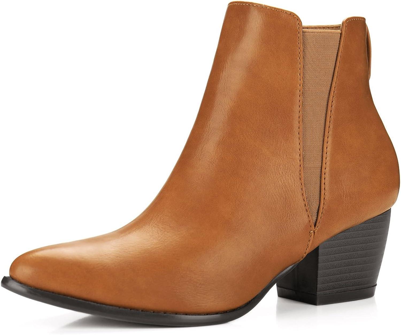Allegra K Women's Pointed Toe Chunky Heel Ankle Western Booties