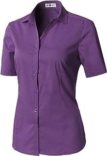CLOVERY Women's Short Sleeve Basic Button Down Slim Fit Fomal Shirt