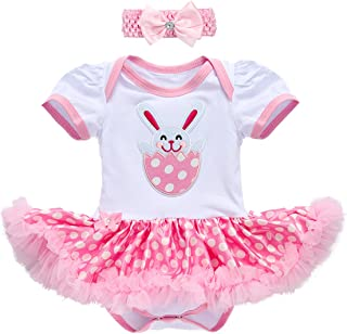 7f0e8b2d150 OBEEII My First Easter Bunny Egg Baby Girl Romper Tutu Dress Headband Leg  Warmers Shoes Outfits